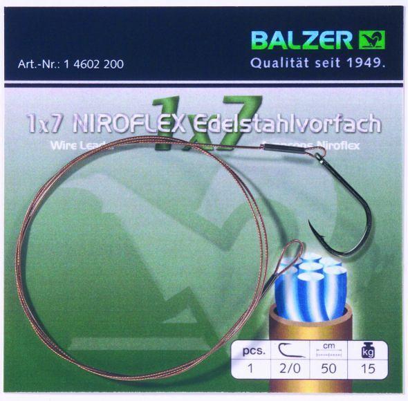 Balzer 1x7 Niroflex előke egyágú horoggal
