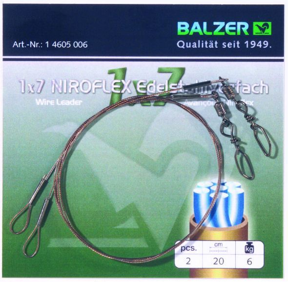 Balzer 1x7 Niroflex előke forgókapoccsal és hurokkal